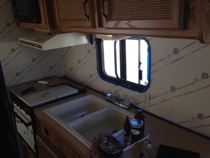 1989 Mallard Sprinter RV Remodel Kitchen Before